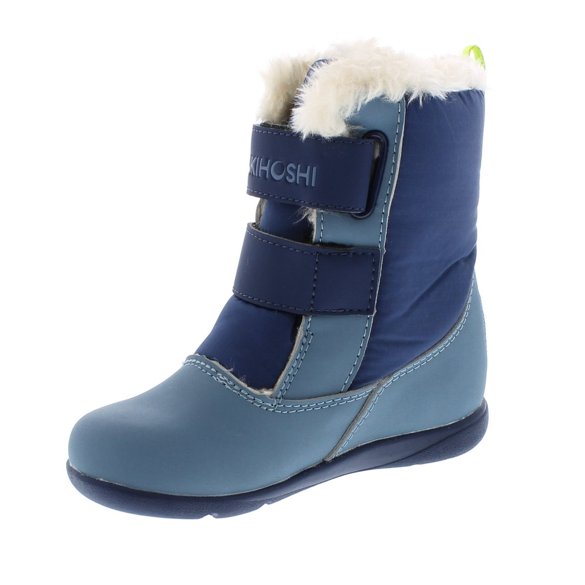 Child Tsukihoshi Teddy Boot in Sea/Lime from the front view