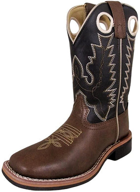 Children's Smoky Mountain Blaze Square Toe Western Cowboy Boot in Brown/Black