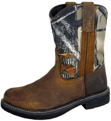 Children's Smoky Mountain Buffalo Leather Boot in Brown Oil Distress/Camo