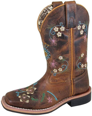 Children's Smoky Mountain Floralie Embroidered Western Cowboy Boot in Brown