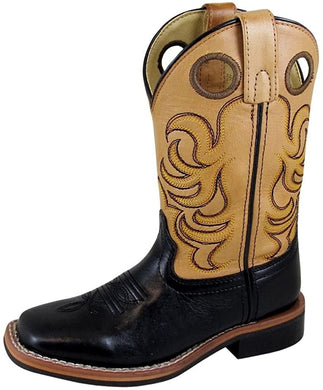 Children's Smoky Mountain Jesse Leather Western Cowboy Boot in Black/Tan
