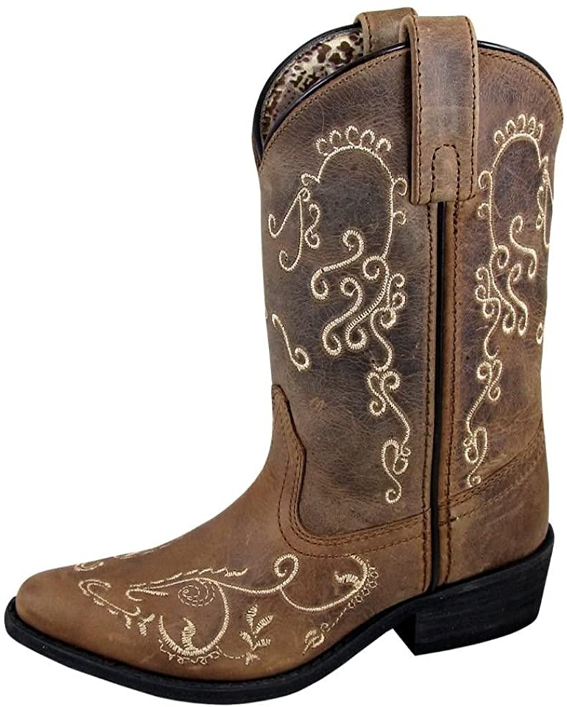 Children's Smoky Mountain Jolene Pull On Embroidered Snip Toe Boot in Brown Waxed Distress