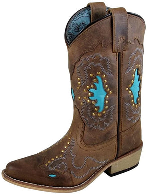 Children's Smoky Mountain Moon Bay Studded Design Snip Toe Boot in Brown Distress/Turquoise