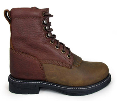 Children's Smoky Mountain Panther Leather Boot in Brown Distress/Brown