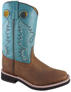 Children's Smoky Mountain Pueblo Leather Boot in Brown Oil Distress/Turquoise