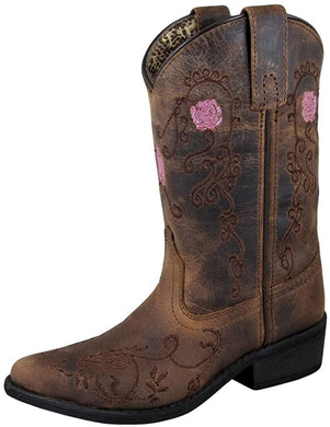 Children's Smoky Mountain Rosette Pull On Embroidered Floral Snip Toe Distress Boot in Brown Oil Distress