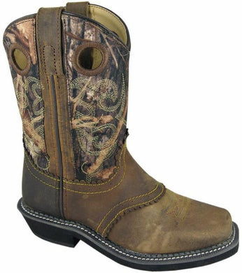 Children's Smoky Mountain Square Toe Pawnee Boot in Brown Oil Distress/Camo