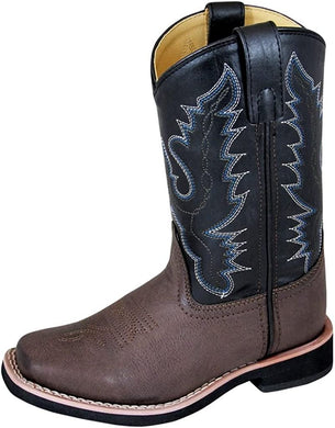 Children's Smoky Mountain Tyler Square Toe Western Cowboy Boot in Brown/Black