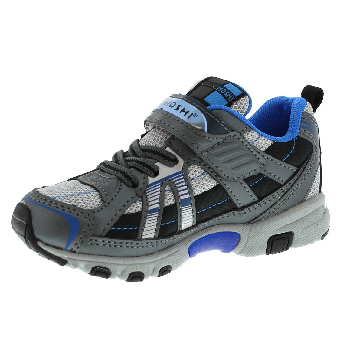 Childrens Tsukihoshi Storm Sneaker in Graphite/Royal from the front view