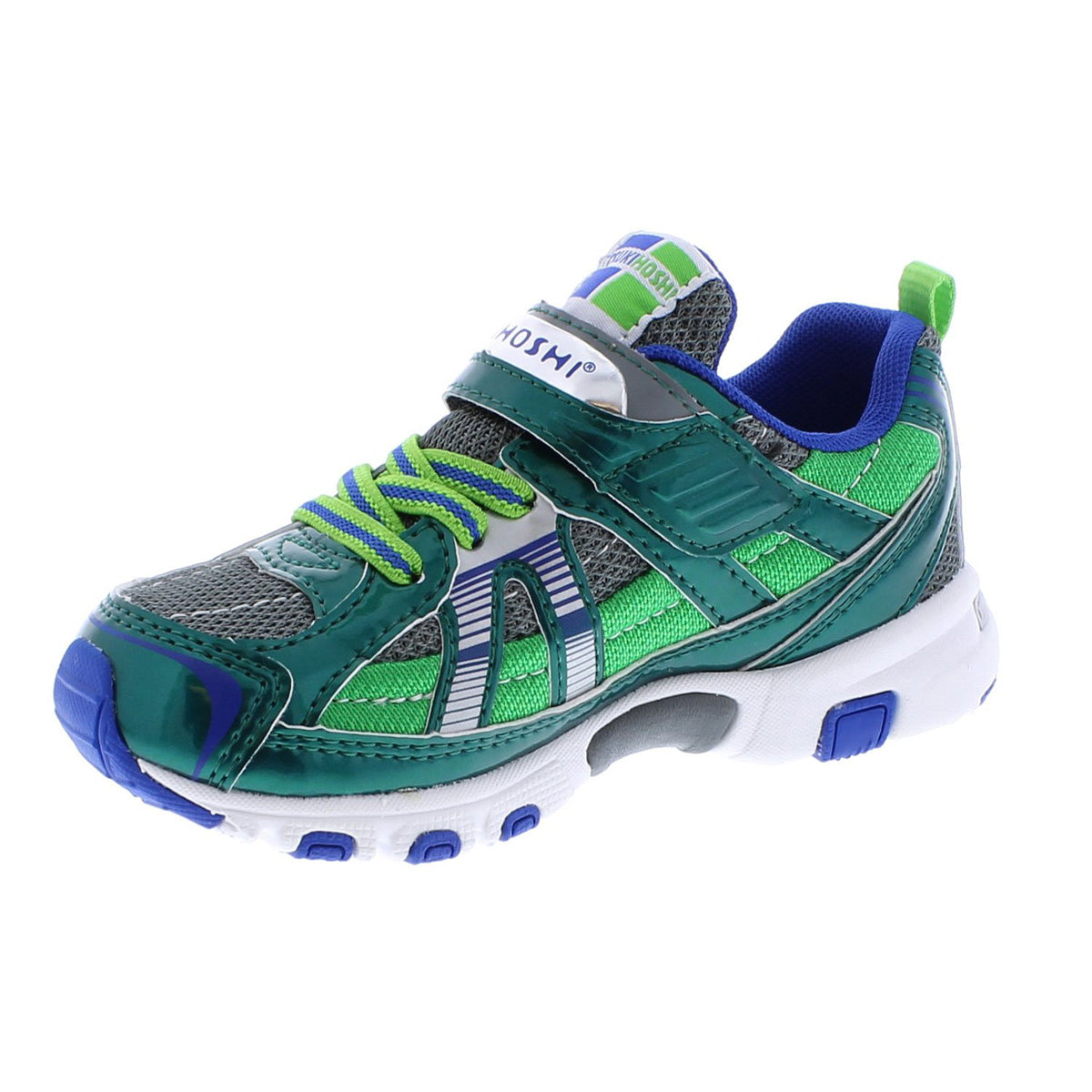 Childrens Tsukihoshi Storm Sneaker in Green/Gray from the front view