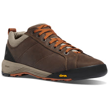 "Load image into Gallery viewer, Danner Men's Camp Sherman 3"" Hiking Shoe in Dark Brown/Orange from the side"