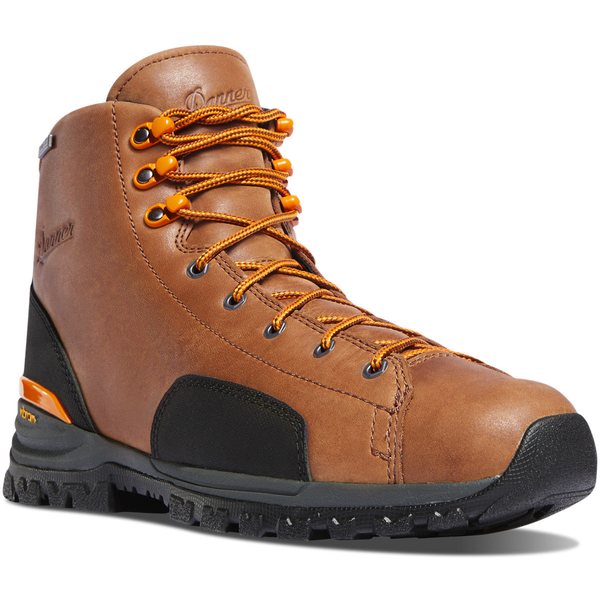"Danner Men's Stronghold 6"" Waterproof Non-Metal Toe Work Boot in Brown from the side"
