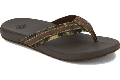 Dockers Mens Fletcher Casual Flip-Flop Sandal Shoe in Camo/Dark Brown from the side view