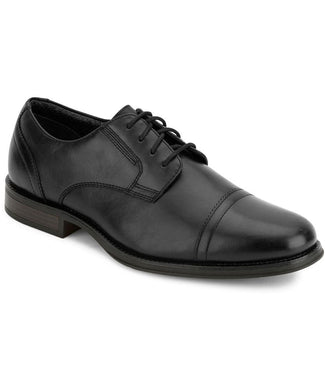 Dockers Mens Garfield Dress Cap Toe Oxford Shoe in Black from the side view