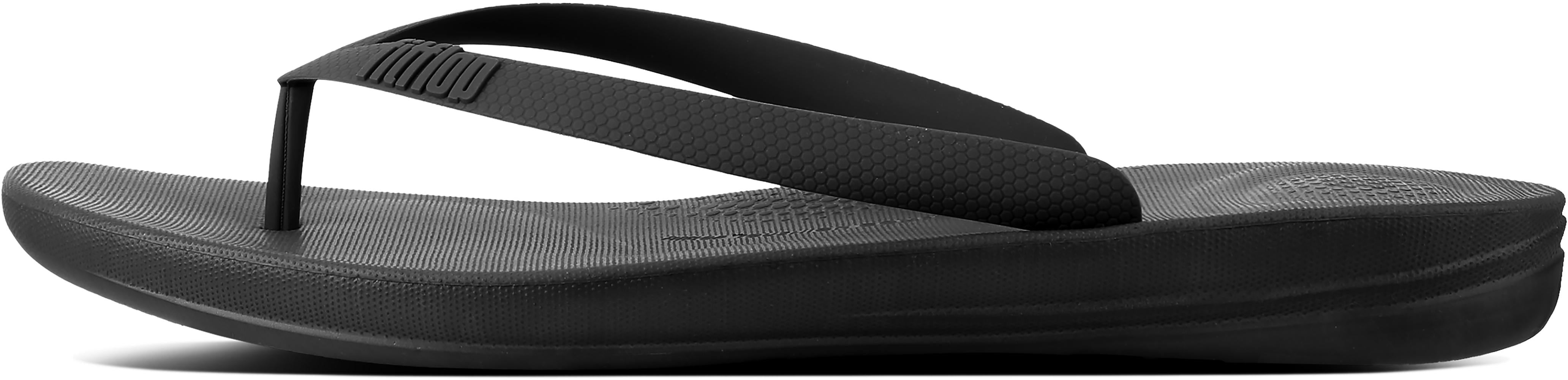 Iqushion Ergonomic Flip-Flops in Black from the side