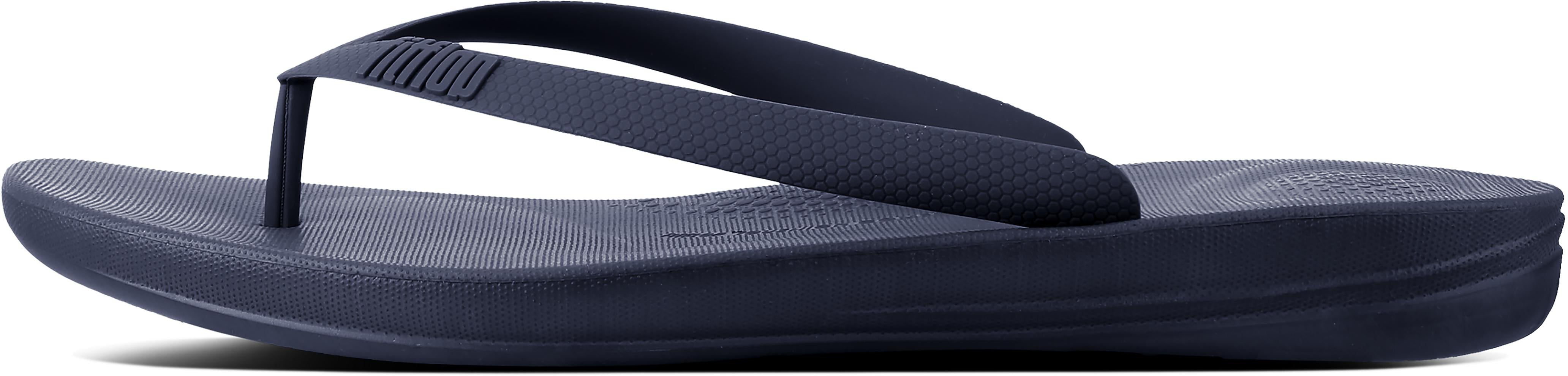 Iqushion Ergonomic Flip-Flops in Midnight Navy from the side