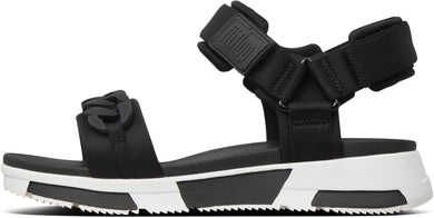 Heda Chain Back-Strap Sandals in Black from the side