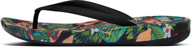Iqushion Floral-Print Flip-Flops in Black Mix from the side