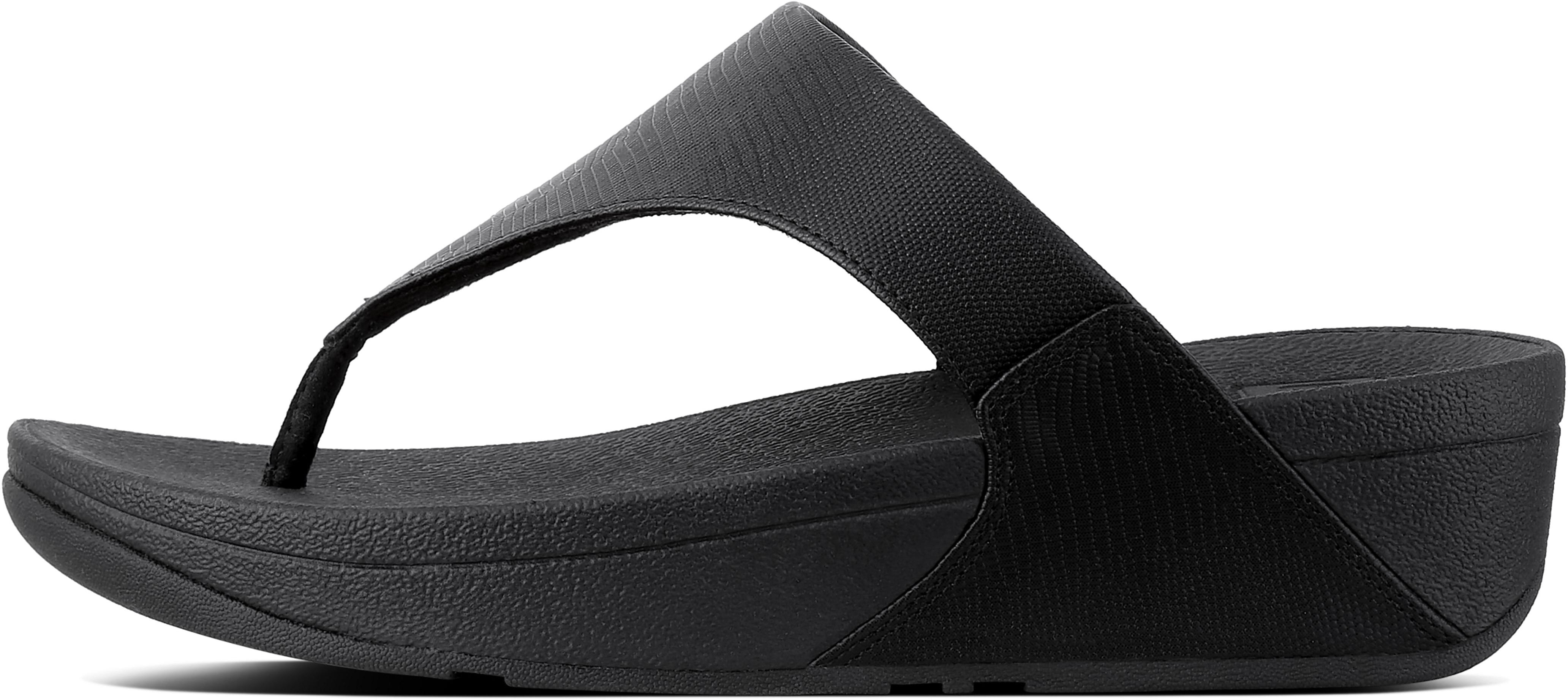Lulu Toe-Thong Sandals In Shimmerlizard in Black from the side