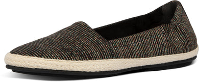 Siren Glitter Stripe Espadrilles in All Black from the side