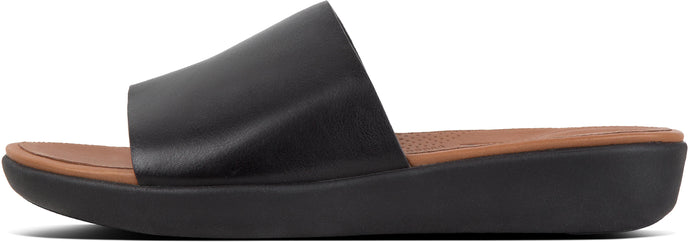 Sola Slides - Leather in Black from the side