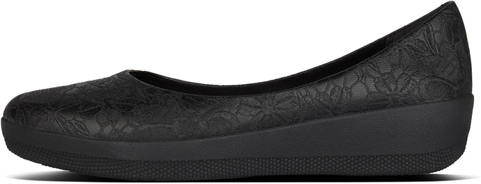 Varya Flower Embossed Ballerinas in All Black from the side