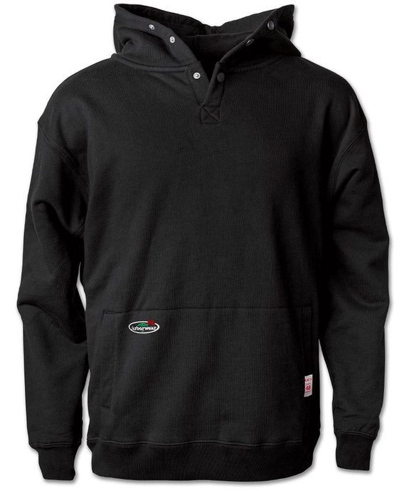 FR Double Thick Pullover Sweatshirt in Black color from the front view