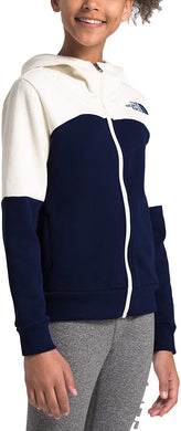 Girl's The North Face Metro Logo Full Zip Hoodie in Montague Blue