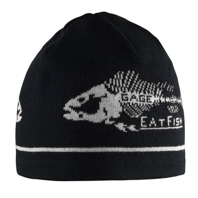 Eat Fish Knitted Beanie in Black color