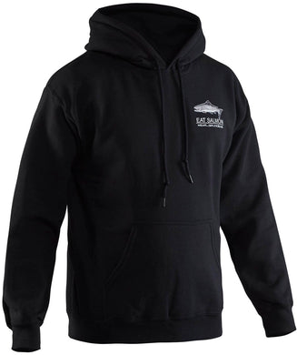 Eat Salmon Hooded Sweatshirt in Black color