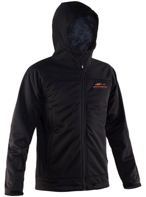 Anuri Hooded Wind Proof Fleece Jacket in Black color