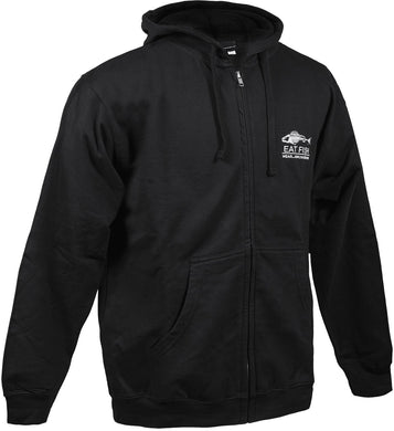 Eat Fish Full Zip Sweatshirt in Black color