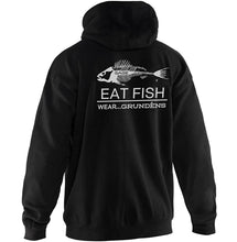 Load image into Gallery viewer, Eat Fish Hooded Sweatshirt in Heliconia color