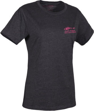 Women'S Eat Fish Logo T-Shirt in Heather Charcoal- Pink color