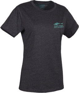 Women'S Eat Fish Logo T-Shirt in Heather Charcoal- Pool Blue color