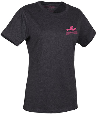 Women'S Eat Lobster Logo T-Shirt in Heather Charcoal- Pink color