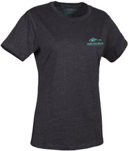 Load image into Gallery viewer, Women'S Outdoor T-Shirt in Heather Charcoal- Pool Blue color