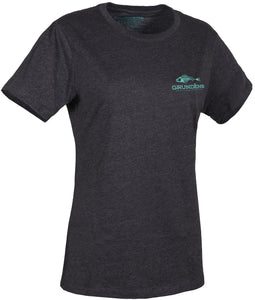 Women'S Outdoor T-Shirt in Heather Charcoal- Pool Blue color