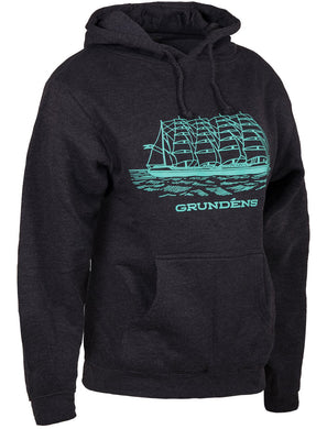 Women'S Ship Hooded Sweatshirt in Heather Charcoal- Pool Blue color