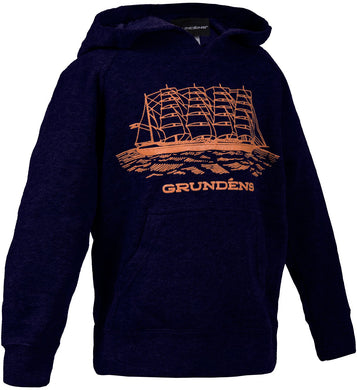 Youth Ship Hooded Sweatshirt in Navy color