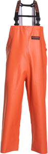 Herkules 16 Bib Pant in Orange color from the front view