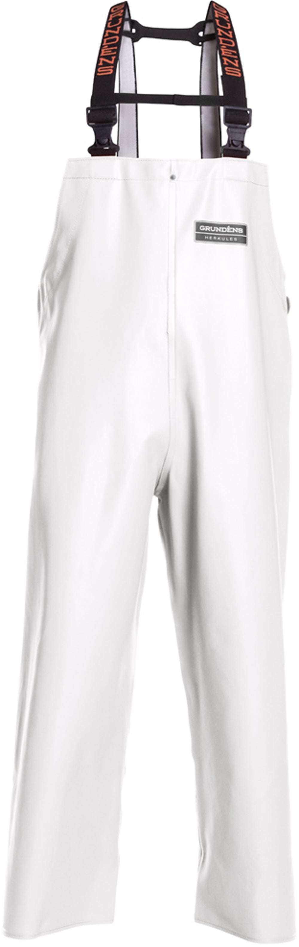 Herkules 16 Bib Pant in White color from the front view