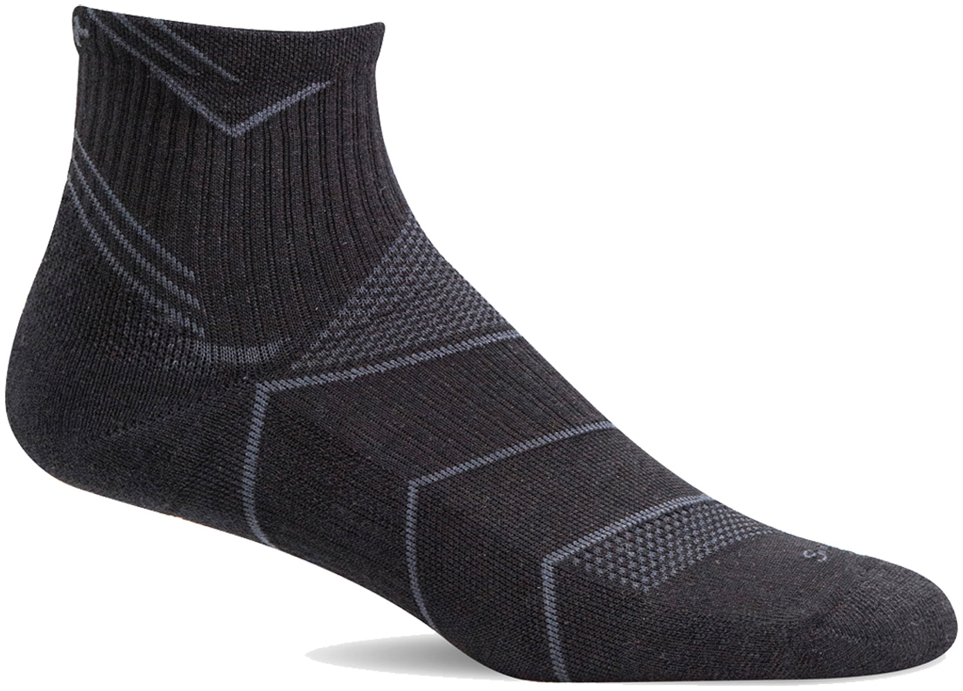 Sockwell Women's Incline Quarter Sock in Black Solid color from the side