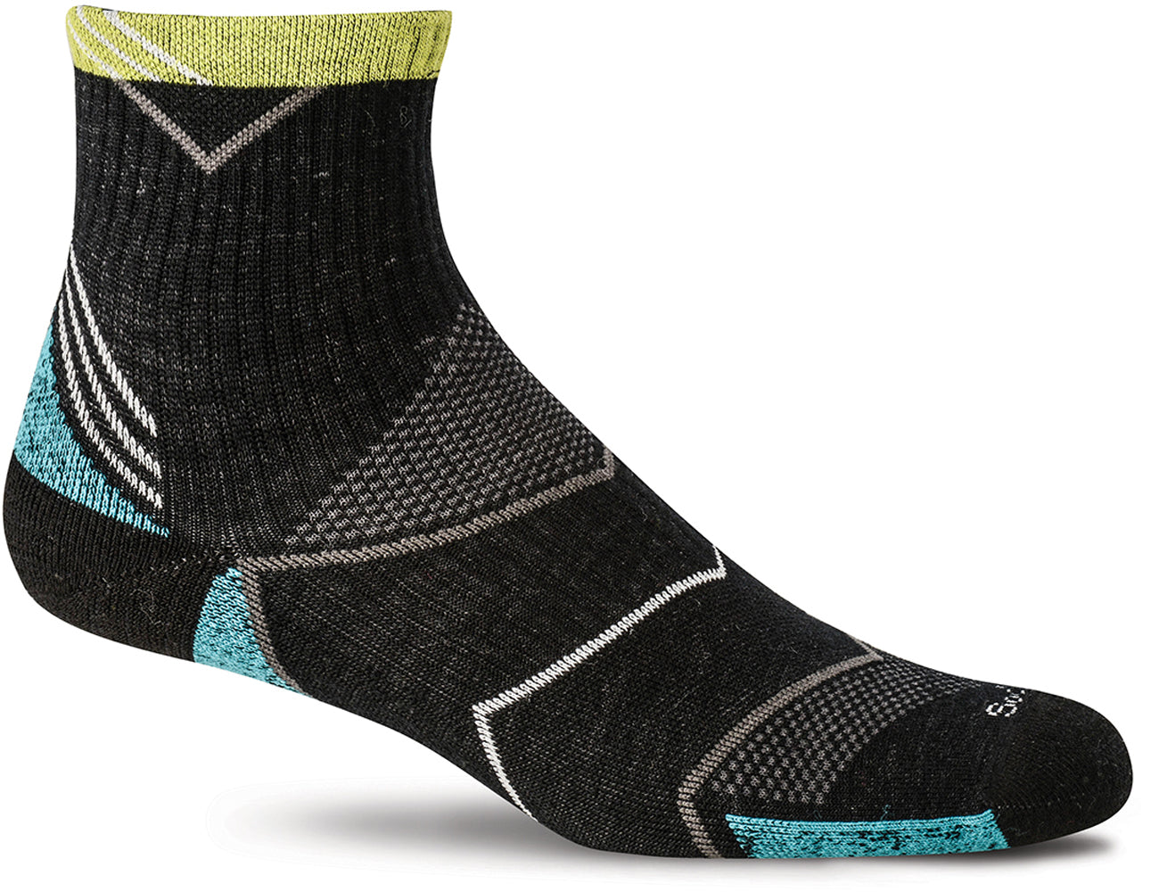 Sockwell Women's Incline Quarter Sock in Black color from the side