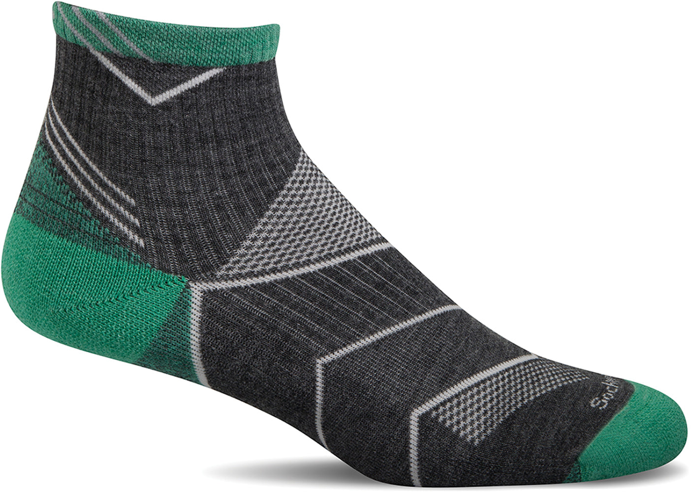 Sockwell Women's Incline Quarter Sock in Charcoal color from the side