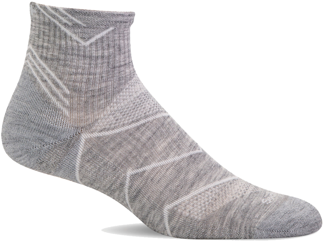 Sockwell Women's Incline Quarter Sock in Grey SMU color from the side