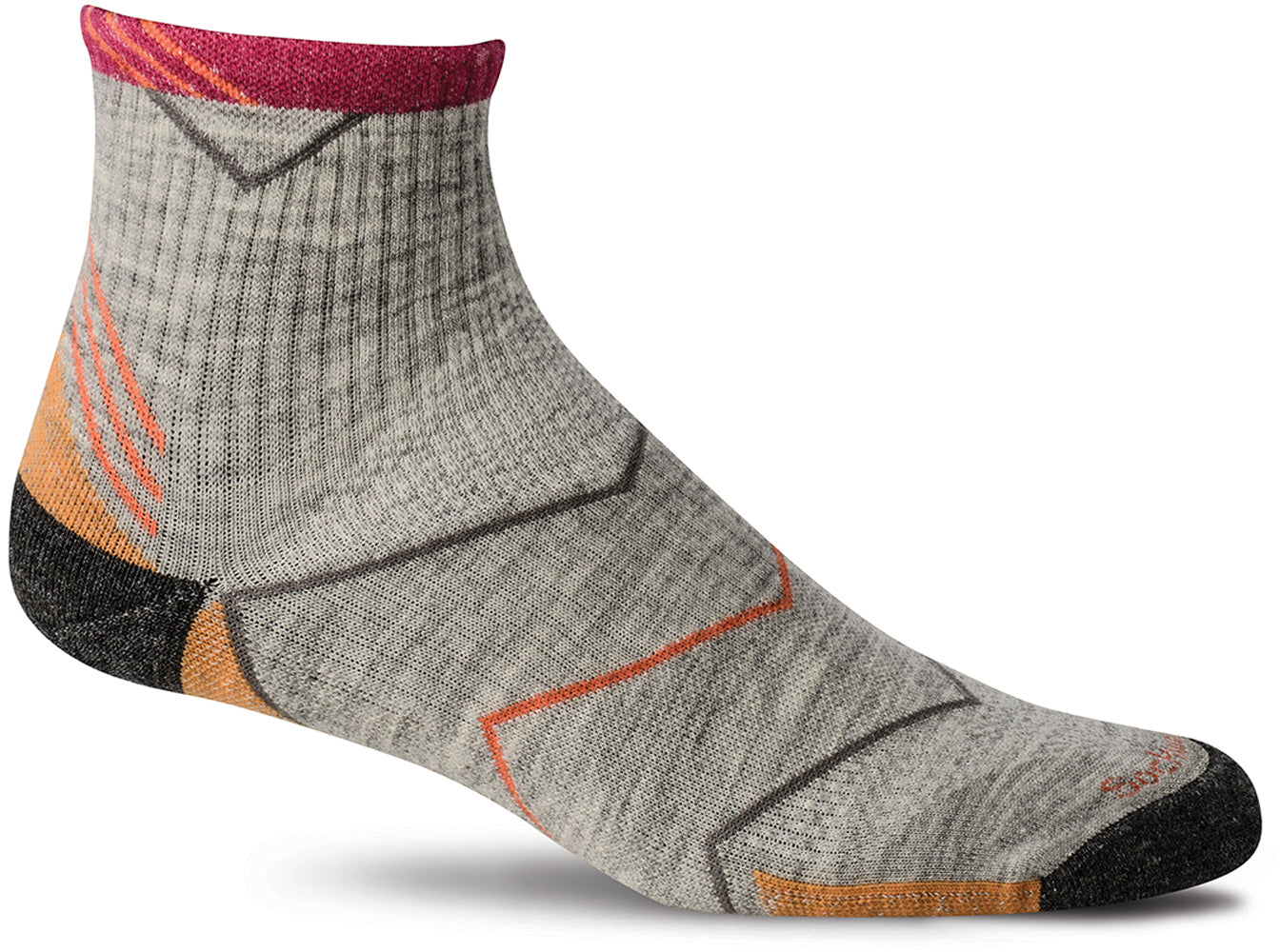 Sockwell Women's Incline Quarter Sock in Grey color from the side