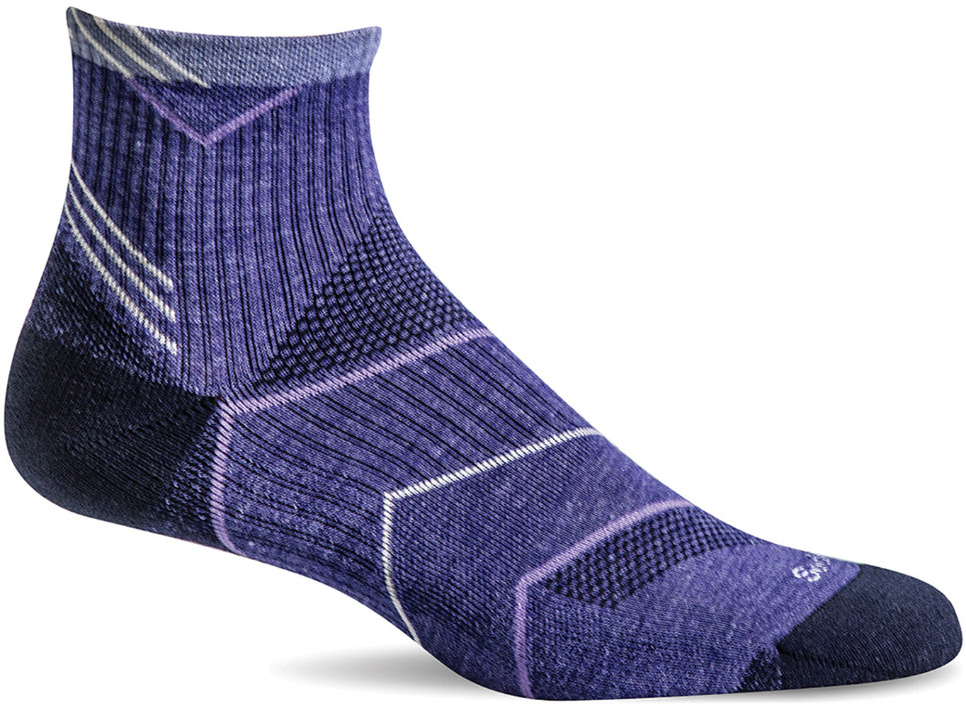 Sockwell Women's Incline Quarter Sock in Hyacinth color from the side