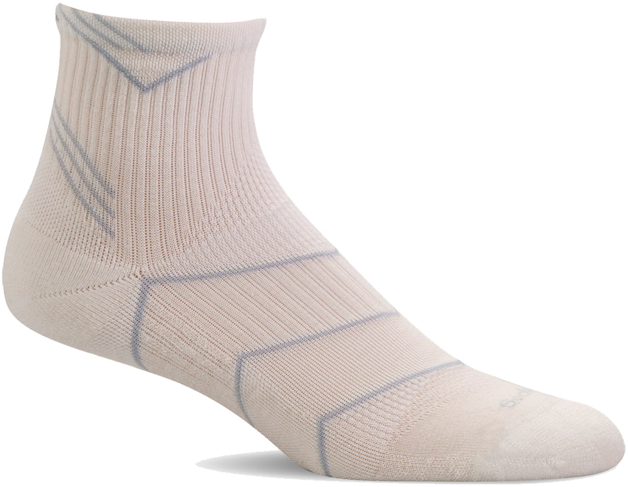 Sockwell Women's Incline Quarter Sock in Natural/Black color from the side