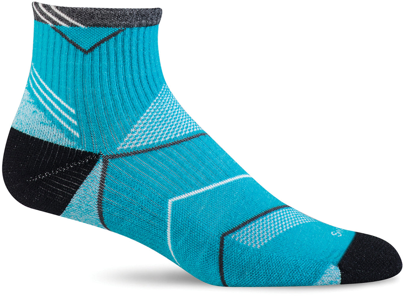 Sockwell Women's Incline Quarter Sock in Turquoise color from the side